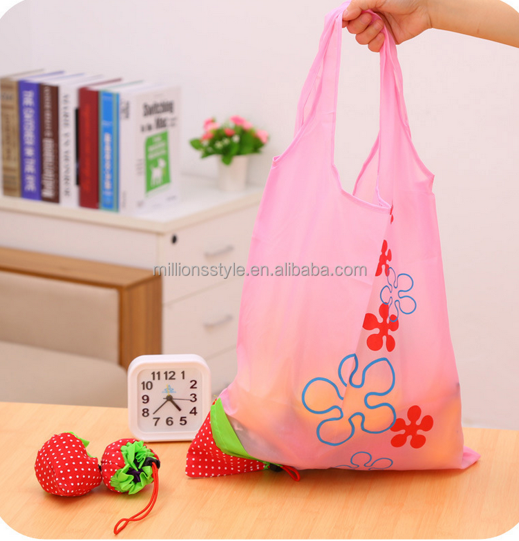 Recycled 190T Polyester Little Berry Pocket Foldable Tote Shopping Bag