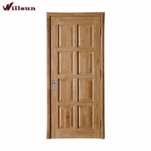 6 Panel Simple Design Raw Solid Interior Wood Door Price