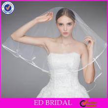 A20 Best selling ribbon trim 2 layer wholesale short bridal veil prices