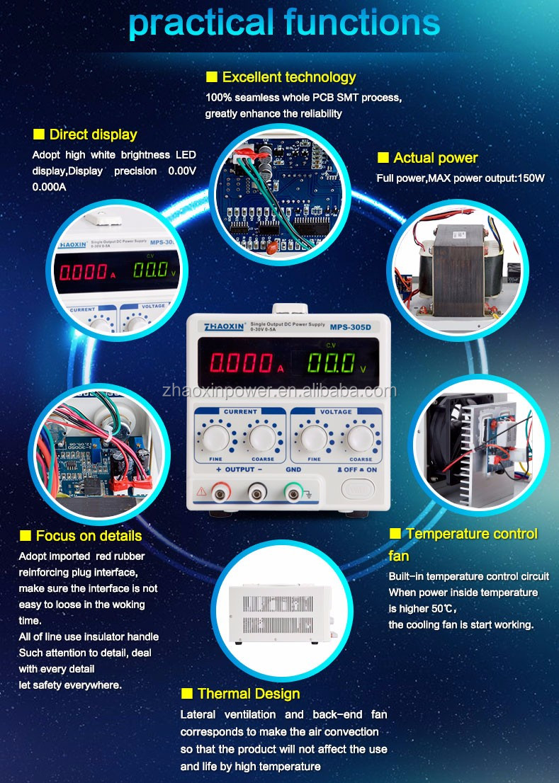 ZHAOXIN MPS-305D Adjustable linear dc regulated power supply with CE approved factory