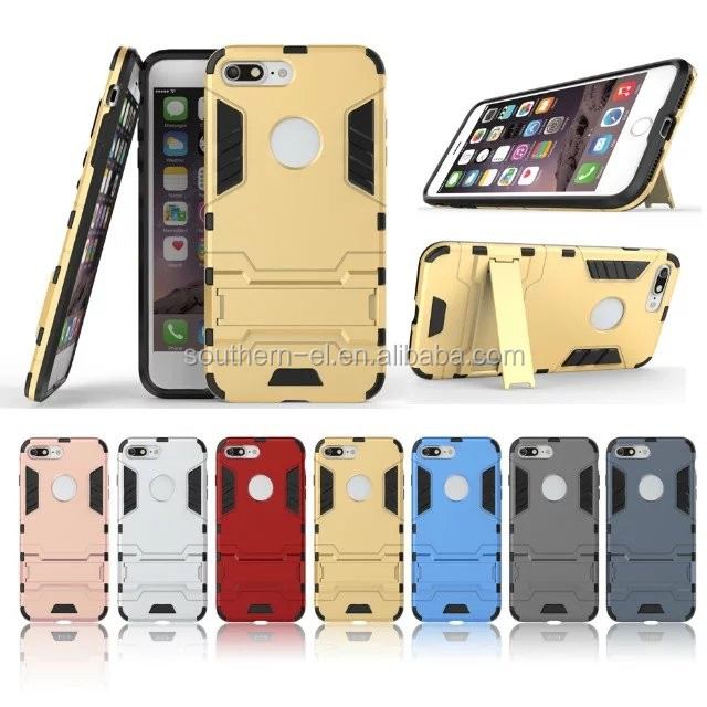 Iron Armor Dual Layer TPU+PC 2 in 1 Hybrid Protective Hard Back Cover Case with Kickstand for Apple iPhone 7 7 Plus 5.5 inches