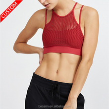 custom sexy red mesh cross back sports bra pole dance wear