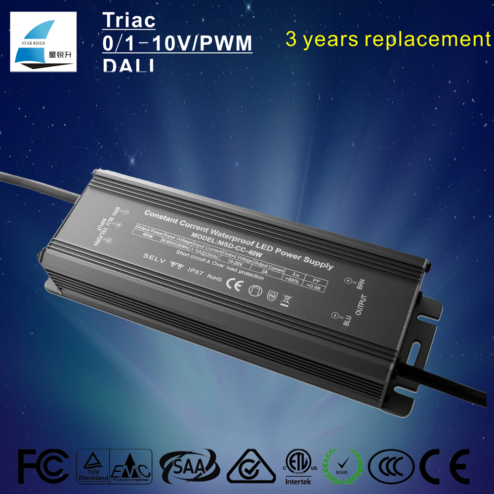 Waterproof IP67 40W 2000mA 15-20V DC constant current led driver for led street light