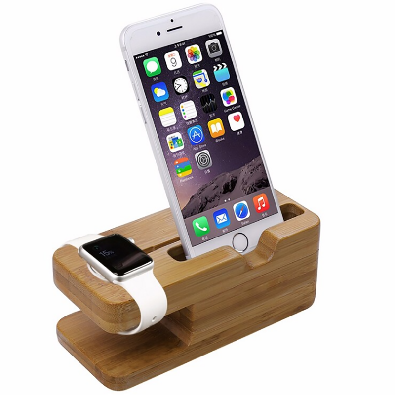 for apple watch stand Wooden shape Mobile stand wood cell phone holder