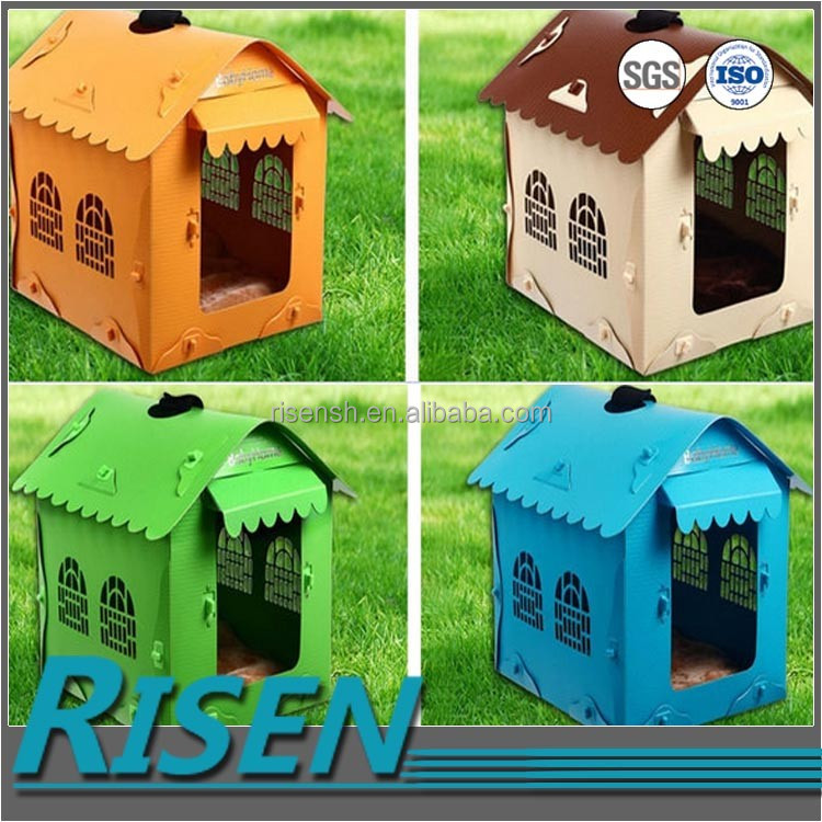 Low price wholesale folding pp coroplast dog plastic box house