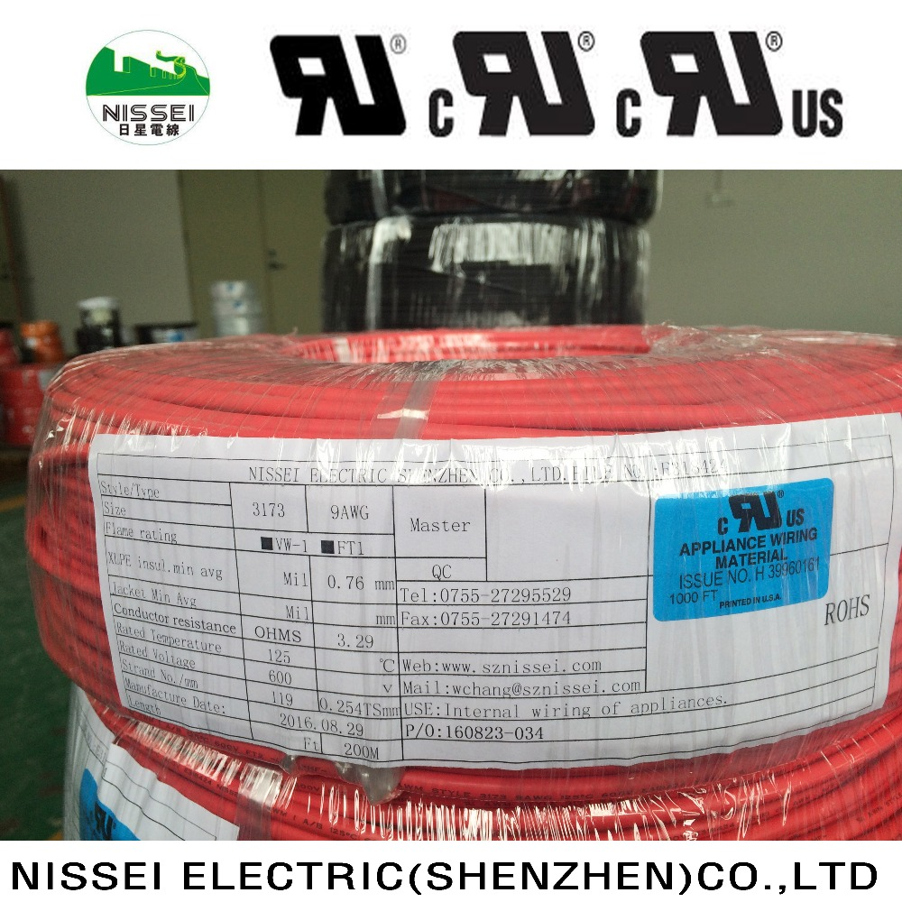 UL3173 electric wire 9AWG red insulation