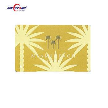 Golden Metallic Background Plastic Card with Embossed Number