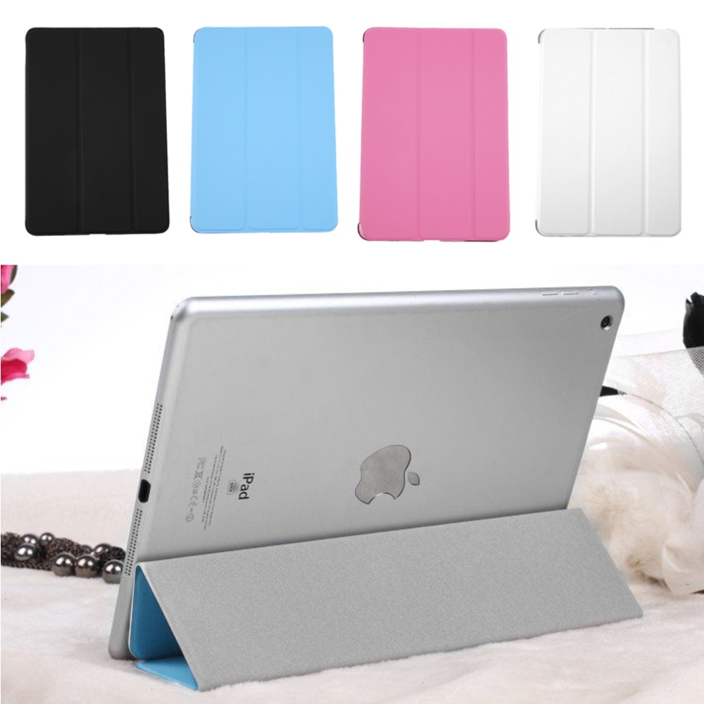 "New Ultra Slim Tri-Fold PU Leather Case with Crystal Hard Back Smart Stand Case Cover for iPad mini 1 2 3 7.9"" tablet Flip Cover"