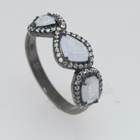 925 sterling silver band ring natural diamond pave ring diamond jewelry manufacturer