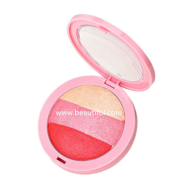 Portabe high quality round kiss beauty multi rose color makeup contour blusher