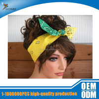 Fashion Accessories Women Head Wrap Headscarf Tie Up Headband Yellow and Green
