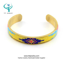 Handmade tibetan jewelry with gold cuff small bead bracelet for ladies jewelry