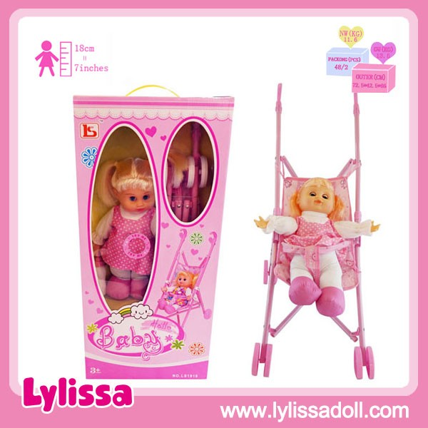 Eco-Friendly Flash Plastic Stroller 13 Inch Dolls with Sounds 4 IC.