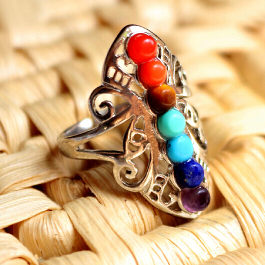 Mix and match style natural stone ring