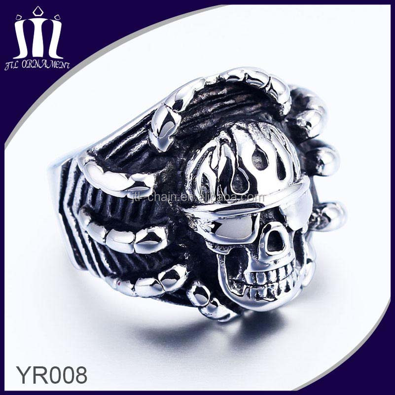 Finger Spikes Stainless Steel Skull Nose Jewelry Ring
