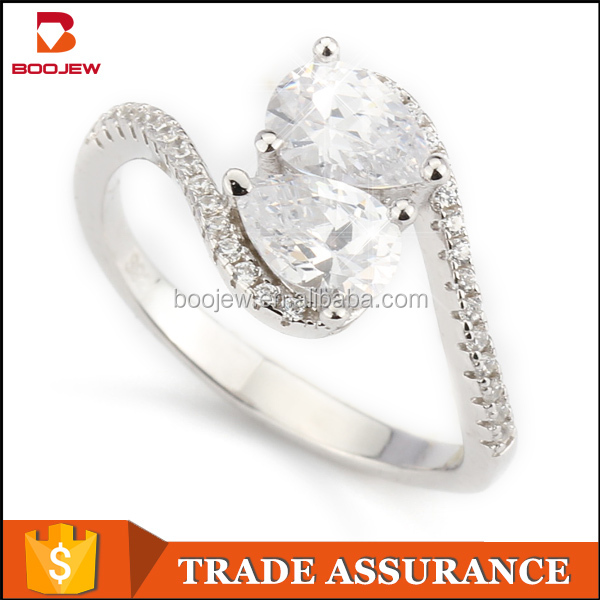 Boojew supply French romantic style imitation diamond bijoux 925 sterling silver vogue jewelry wedding rings