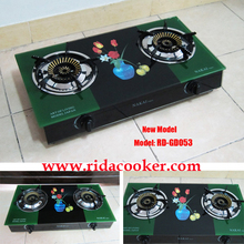 (RD-GD053) India Model 2 burners Glass Top Gas Cooker