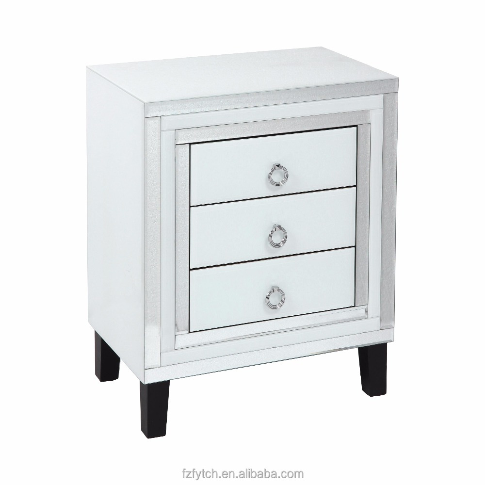 F59 Sparkling modern white clear mirrored glass trim chest 3 drawer cabinet unit table