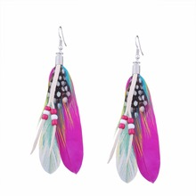 bohemian long feather earrings beads for women fashion jewelry for catwalk hanging earrings