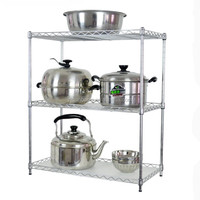 60cm 3Tiers Wire Chrome Kitchen Rack/Shelf