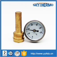 round outdoor water pipe temperature gauge bimetal thermometer