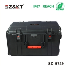 Hard huge plastic equipment case with wheels and handle