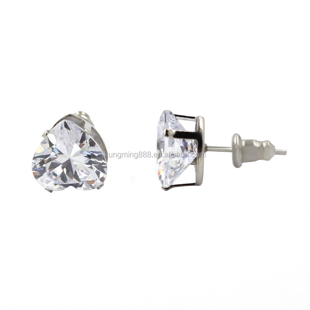 Personal Crystal Jewelry Heart Shaped Stainless Steel Stud Earrings