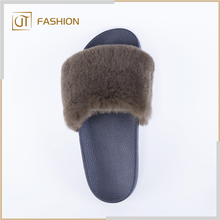 Fashion popular china product real fur indoor outdoor summer women genuine sheepskin slippers