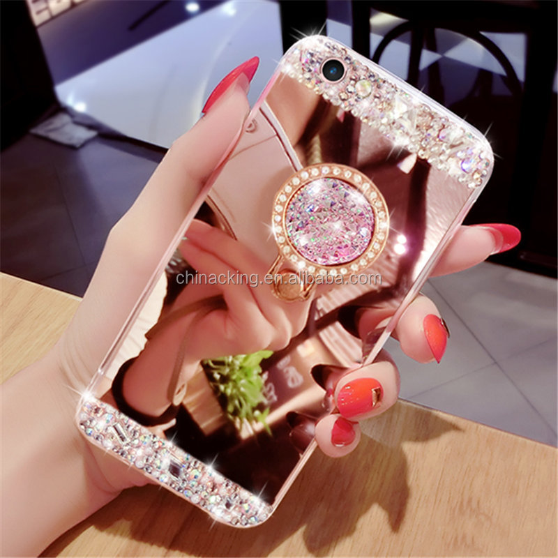 For Samsung Galaxy S3 S4 S5 S6 S7 Edge S8 Plus Note 8 Bling Diamond Crystal Ring Holder Kickstand Mirror Case Cover Coque