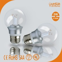 5W 2700K e27 led light dimmable A19 led bulb Clear