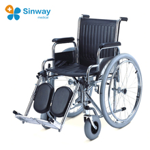 Steel invalid wheel chair with elevated footrest