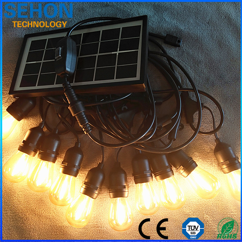 Waterproof outdoor decoration solar powered 3V led string light 12.5M 10 sockets S14 Filament Led Bulb