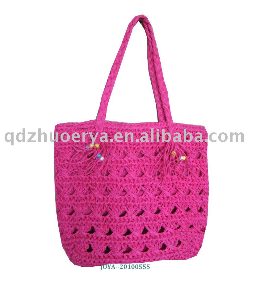 Sweet cherry paper straw crocheting shouldbag +paper straw braids handle with bead at the end +polyester lining