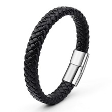 Classic Customize Mens Wholesale Black Braided Leather Bracelet Customer LOGO Stainless Steel Clasp Men Bracelet & Bangle