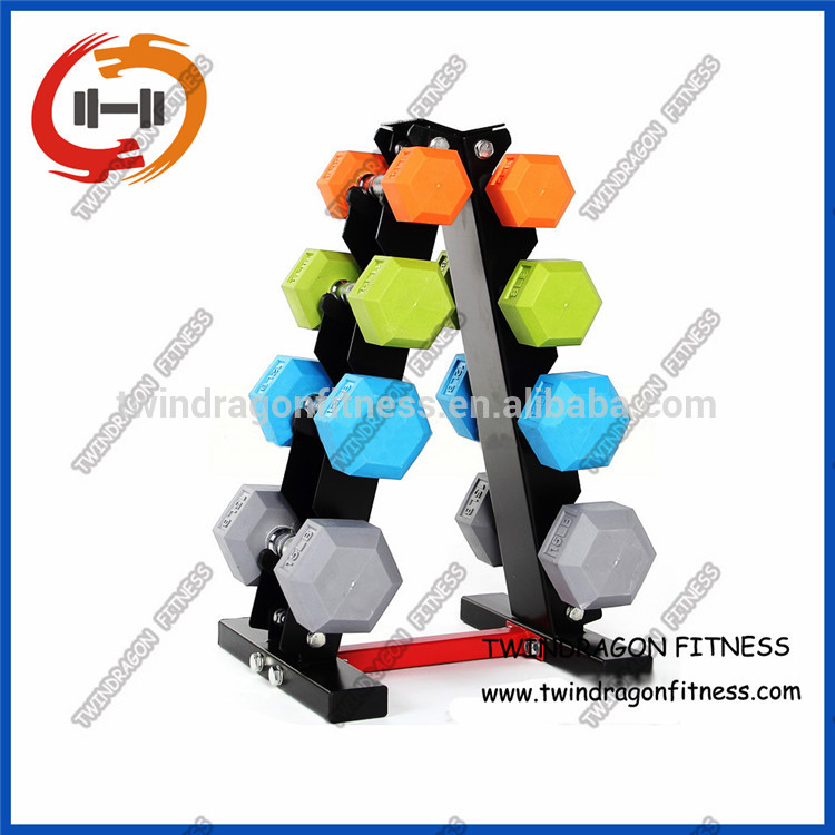 Rubber Hex Color Dumbbell Weights Set
