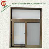 Champagne Color Aluminium Frame Sliding Glass Window in Standard Bathroom Window Size at Cheap Price of Aluminium sliding Window
