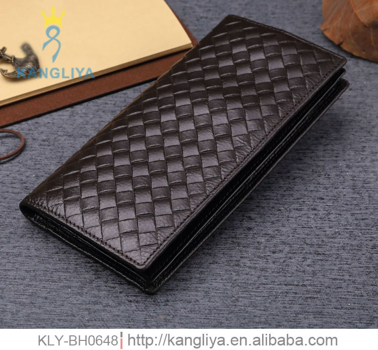 Unique woven <strong>wallet</strong> for man top quality genuine leather <strong>wallet</strong> for high end market