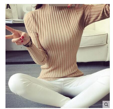 19 Autumn and winter New Korean Half turtleneck Sweater jacket Womens Long Sleeve Set head All-match knitted Sweater woman 37