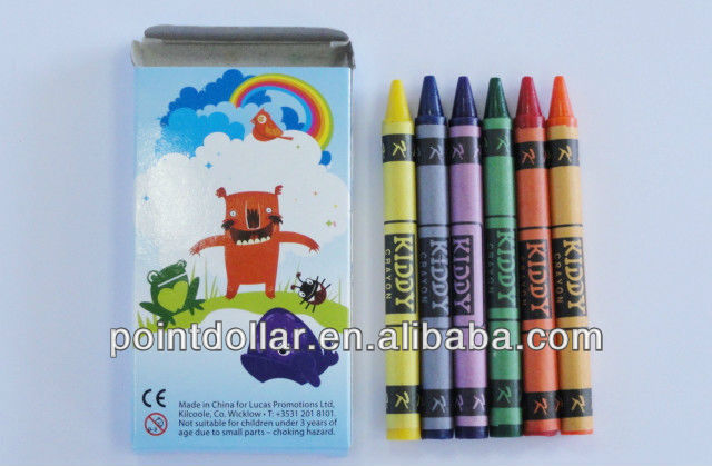 6 High Quality Wax Crayons/ Crayon Sets for Children/ Non-Toxic & Conforms to ASTMD 4236 & EN71