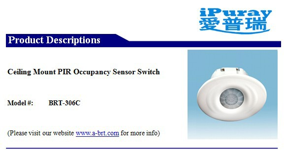 PIR infrared Sensor Ceiling Switch for 1000W light auto on off function