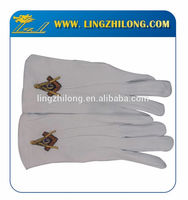 White cotton gloves embroidered custom cotton masonic gloves