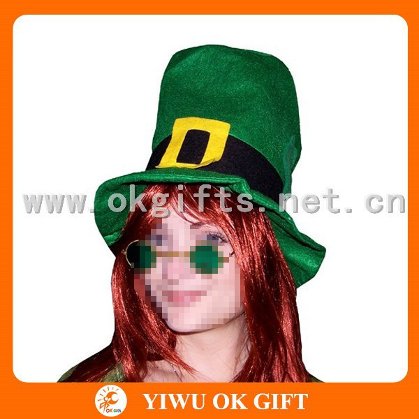 Green velour St Patrick day children top hat, outdoor festival decoration, pretty green bucket hat