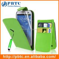 Set Screen Protector Stylus And Case For Samsung Galaxy S3 I9300 , Green Leather Wallet Case Cell Phone Case