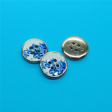 Fashion blue and white porcelain printed shirt button covers