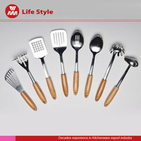 2016 popular wooden handle stainless steel Spatula Set