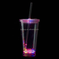 450ML LED Insulated arylic tumbler with lid and Straw,16oz insulated cup with led light,led flashing tumbler with clear straw