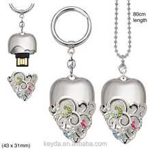 2014 Exclusive promotional custom metal heart-shaped keychain , crystal key chain ,with carving