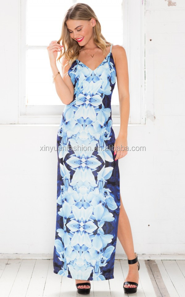 2017 New western printing design sexy nighty maxi dresses split dress