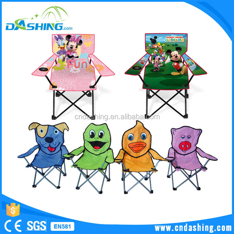 Outdoor camping used beach kids chairs with dimensions cute animal printing kids folding chair