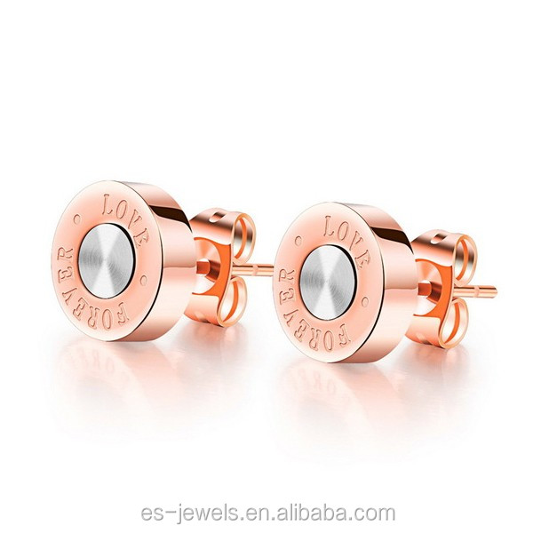GE329 fine jewelry rose gold plating stainless steel earring stud with love forever